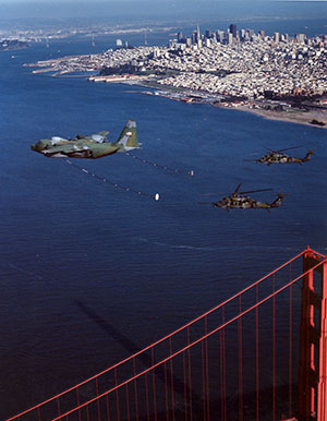 129RQW formation flight over Golden Gate Bridge, San Francisco